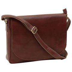 Leather laptop messenger - Brown