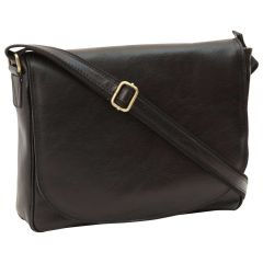 Messenger per laptop in pelle. Nero