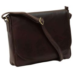 Leather laptop messenger - Dark Brown