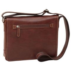 Oiled calfskin leather messenger with frontal zip closure - Chestnut