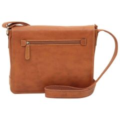 Oiled calfskin leather messenger with frontal zip closure - Brown Colonial