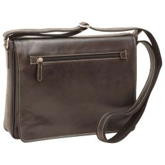 Oiled calfskin leather messenger with frontal zip closure - Black