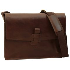 Messenger in pelle. Marrone Scuro