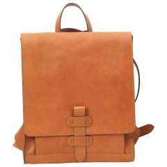 Leather backpack with buckle closure - Brown Colonial