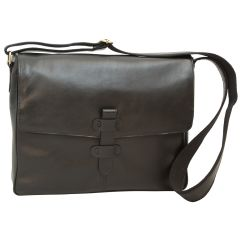 Cowhide Leather Messenger - Black