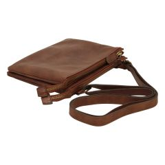 full-grain calfskin leather shoulder bag - Brown