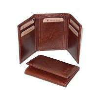 Leather Trifold Wallet - Brown