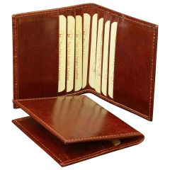 Leather Credit Card Holder - Brown