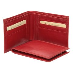 Leather bifold wallet - red