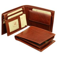 Leather Bifold wallet with coin pocket - Brown