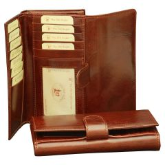 Women's cowhide leather wallet - Brown
