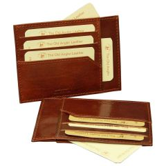 Italian leather credit card holder - Brown
