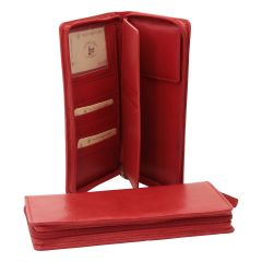 Leather travel wallet - red