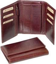 Authentic Leather Trifold Wallet - Brown