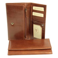 Leather wallet with external zip pocket - Brown