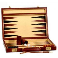Leather backgammon set - Brown