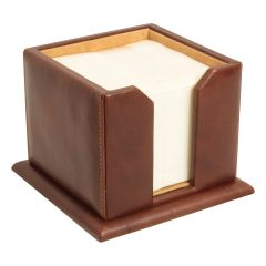 Leather Memo Pad Holder - Brown