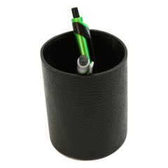 Leather pen cup - black