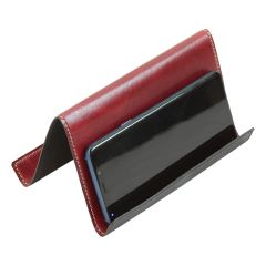 Leather ipad and iphone stand - red