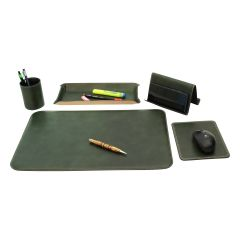 Leather desk kit - 5 pcs   green