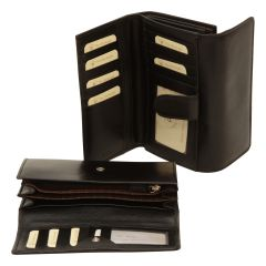 Women's cowhide leather wallet - Black