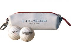 Selective Leather Golf Ball Holder - Red/White